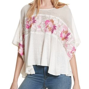 NWOT Free People Love Letter White Blouse Tee XS